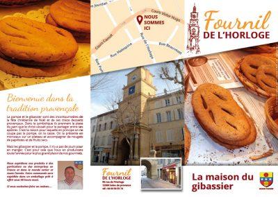 Dépliant Boulangerie de l'horloge – gibassier